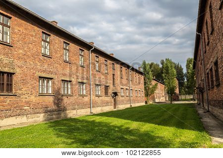 German concentration camp Auschwitz in Poland in summer day poster