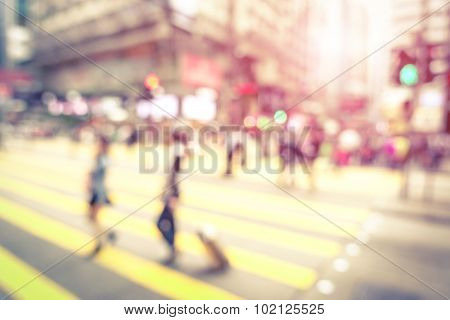 Blurred Defocused Abstract Background Of People Walking On Zebra Crossing - Vintage Marsala Filter