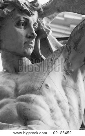 athletic male torso (statue of young god Apollo) poster