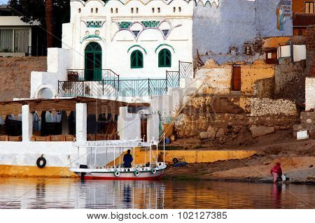 Nubian Village on the Nail rive in Aswan Egypt.