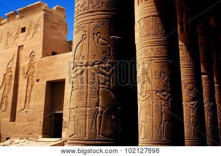 Hieroglyphics outside the Temple of Philae Egypt