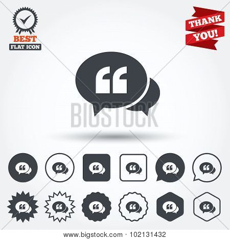 Chat Quote sign icon. Quotation mark symbol. Double quotes at the beginning of words. Circle, star, speech bubble and square buttons. Award medal with check mark. Thank you. Vector poster