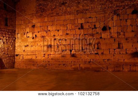 The Western Wailing Wall The Kotel Empty At Night