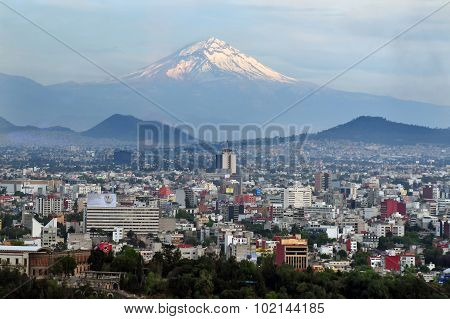 A view of Popocatepetl Volcano Mountain Behind Mexico City.