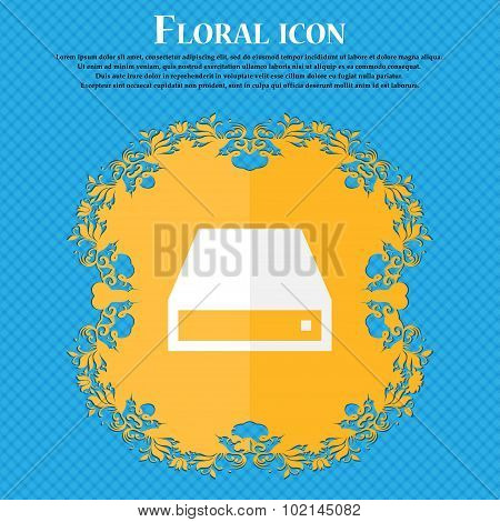 Cd-rom . Floral Flat Design On A Blue Abstract Background With Place For Your Text. Vector