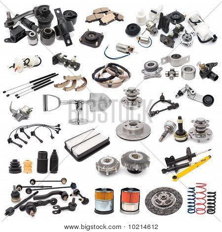 a lot of auto spare parts over white poster