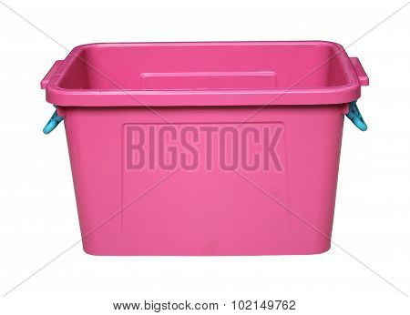 Pink Plastic Box Isolated On White With Clippingpath