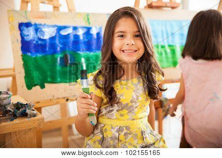 Happy Latin Girl In Art Class