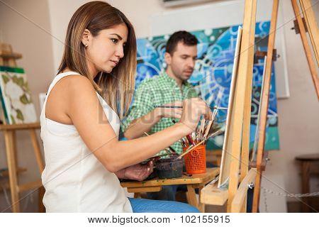 Adults Attending Art Class