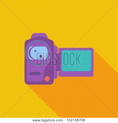 Video camera single flat icon.