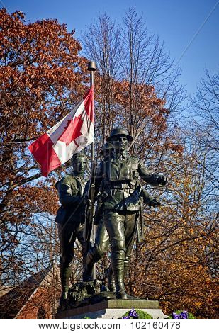 War memorial erected in Charlottetown, Prince Edward Island, Canada pictured after a Remembrance Day service. This monument was erected after the WW1 to commemorate fallen soldiers from PEI.