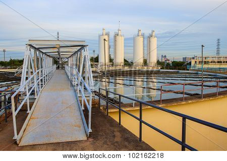 Big Tank Of Water Supply In Metropolitan Waterworks Industry Plant Site
