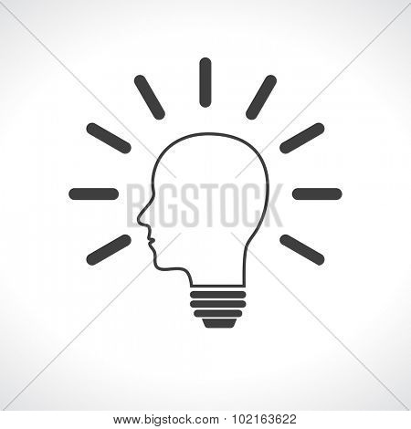 head man lightbulb black icon