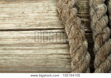 Ship Rope And Copy Space Old Wooden Background