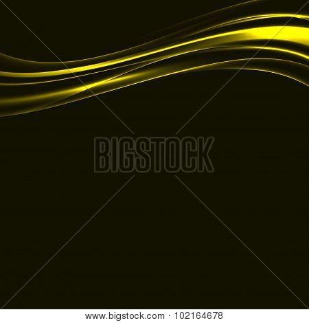 Golden Bright Swoosh Metal Lines Over Black