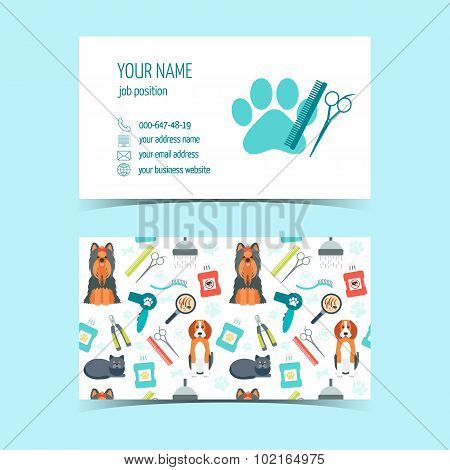 Set of business cards for animal grooming. Promotional products. Flat design. Vector illustration poster