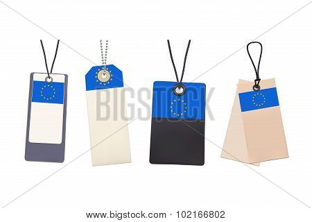 Set of Blank price tags with flag of EU. Photo realistic illustr
