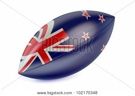 Rugby Ball With Flag Of New Zealand