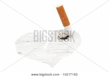 Cigarette Thrust In Heart Drawing