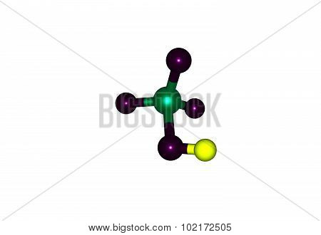 Perchloric acid is an inorganic compound with the formula HClO4. Usually found as an aqueous solution. 3d illustration