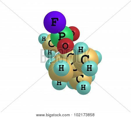 Molecular structure of soman on white