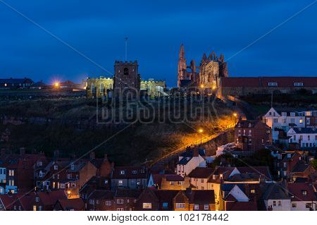 199 Steps To Whitby Churches At Night