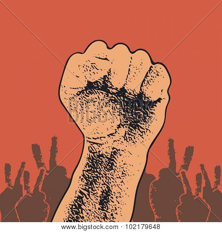 Hand Up Proletarian Revolution. Fist of revolution. Human hand up. Red background. Design element. JPEG version.