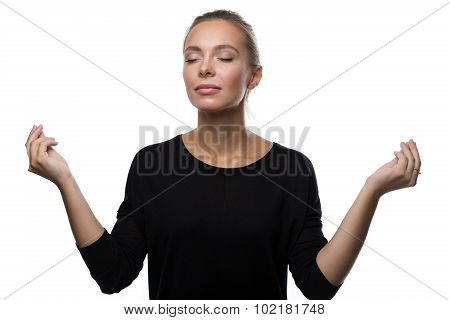 Beautiful woman relaxation on white background