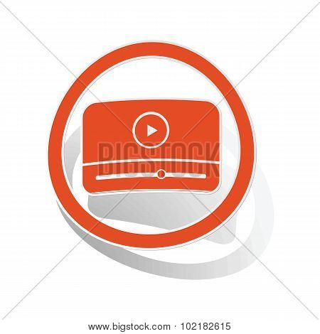 Mediaplayer sign sticker, orange