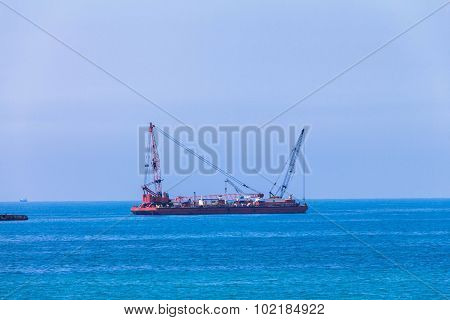 Port Auxiliary Tug Ship Equipped With Cranes, Hoists And Winches