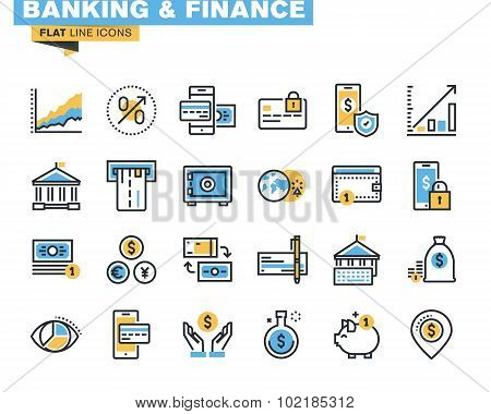 Flat line icon pack for banking
