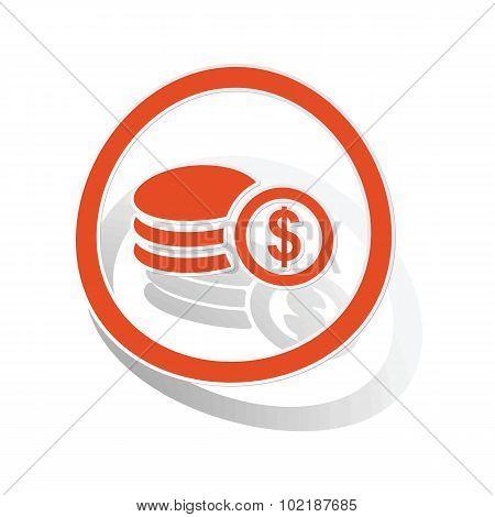Dollar rouleau sign sticker, orange