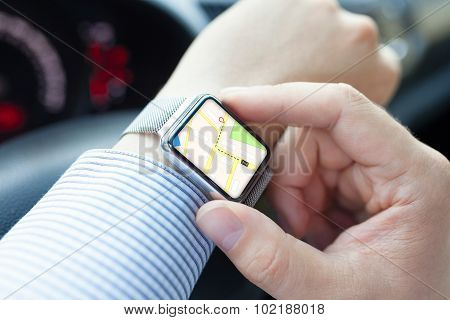 Man Hand In The Car With Watch App Navigation