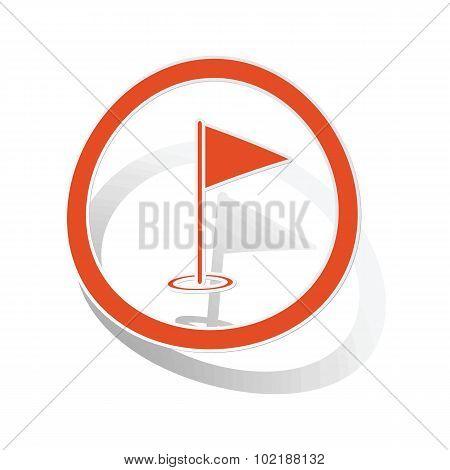 Golf flagstick sign sticker, orange