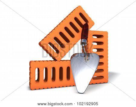 Brick wall under construction end tools. Tools. 3D