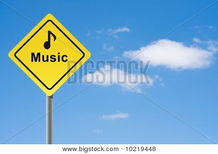 Sign Music Note Sky Background.