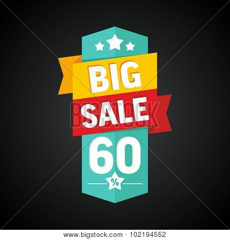 Big sale 60 percent badge. Vector illustration.