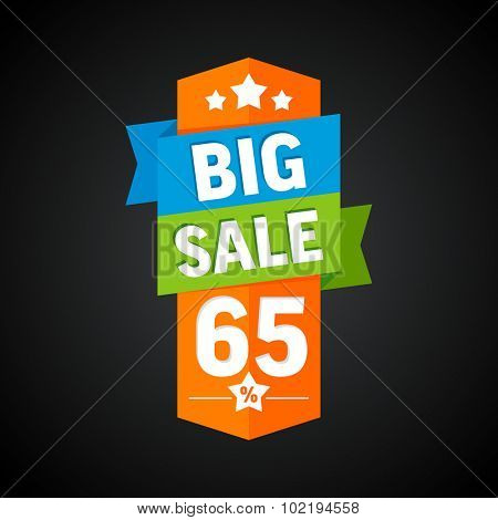 Big sale 65 percent badge. Vector illustration.