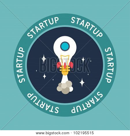 Flat Design Illustration Of Space Rocket Made Of Lamp. Startup Concept. Application Icon