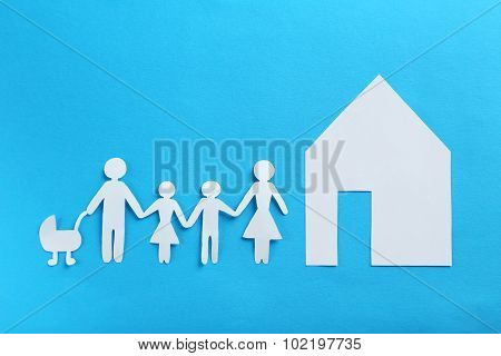 Happy Paper Family On Blue Background