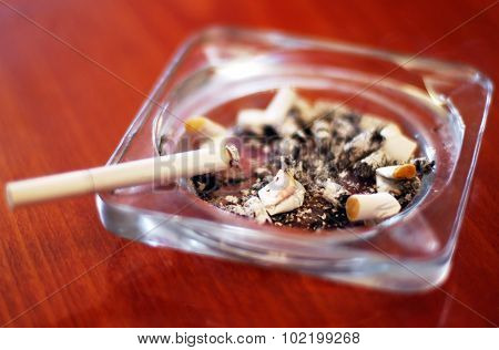 One cigarette in an ashtray with lots of Cigarette buds