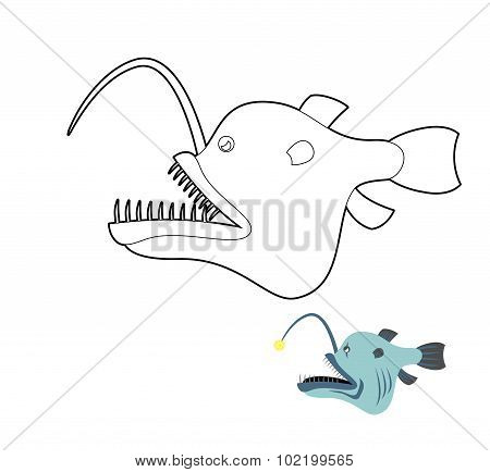Deep-sea Anglerfish Coloring Book. Fish Monster From  Depths Of Ocean. Vector Illustration