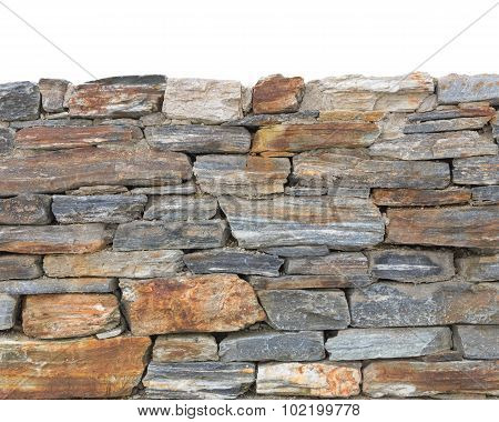 Bottom Part Rough Stone Textured Wall Background Isolated On Top