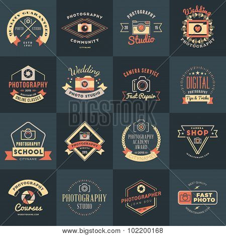 Vector Set Of Photography Logo Design Templates. Photography Retro Vintage Badges And Labels.  Weddi