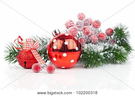Christmas Balls And Fir Branches With Decorations