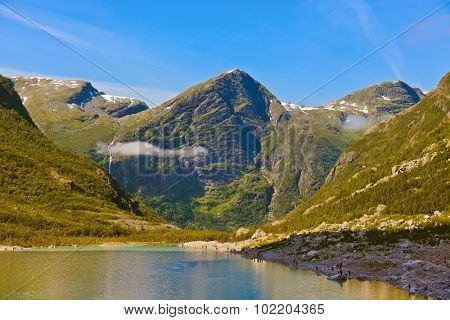 Lake near Briksdal glacier - Norway - nature and travel background