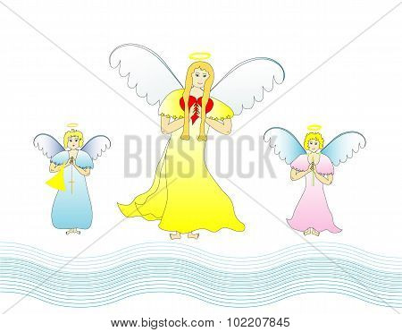 Dressed angelic family