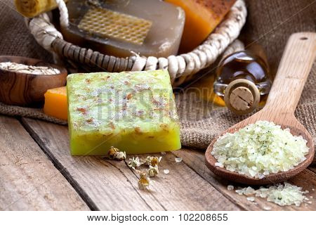 Homemade Soap With Sea Salt On Wooden Background