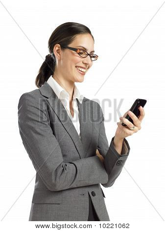 Young Confident Business Woman Texting On Phone