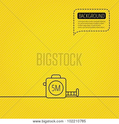 Tape measurement icon. Roll ruler sign. Speech bubble of dotted line. Orange background. Vector poster